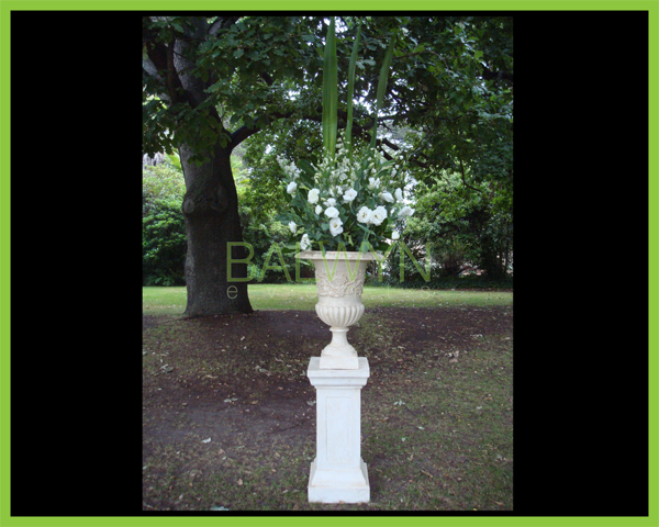 faux sandstone urn and stand